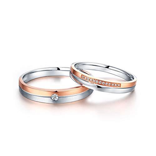ANAZOZ Echtschmuck 2 stück Paarring 18 Karat/750 Rosegold Gebürstet bicolor Paar Ringe Eheringe Trauringe Hochzeitsringe Ehepaar Ringe Set Weiß 0.05ct Diamant Damen: 50 (15.9) & Herren: 57 (18.1)