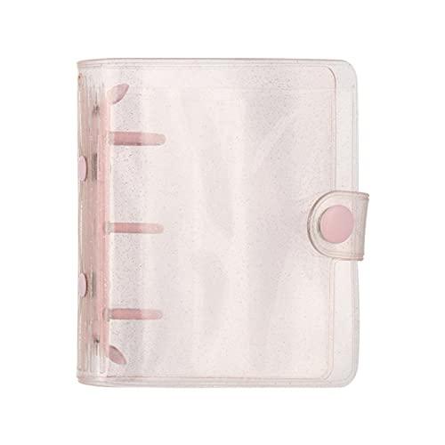 MLOPPTE Caja de regalo de cuenta manual,3 agujeros diario de cuenta de mano carpeta de hojas sueltas papelería creativa cubierta de cuaderno carpeta de archivo libro oficina material escolar A-rosa