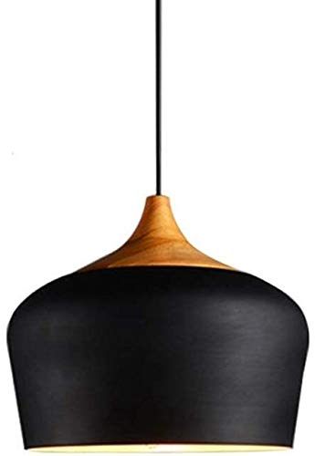 Wlnnes Japanese-Style Solid Wood Single-Head Pendant Ceiling Nordic Minimalist Modern Chandeliers Bar Table Dining Room Office Bedroom Creative Personality Hanging Lights (Color : Black)