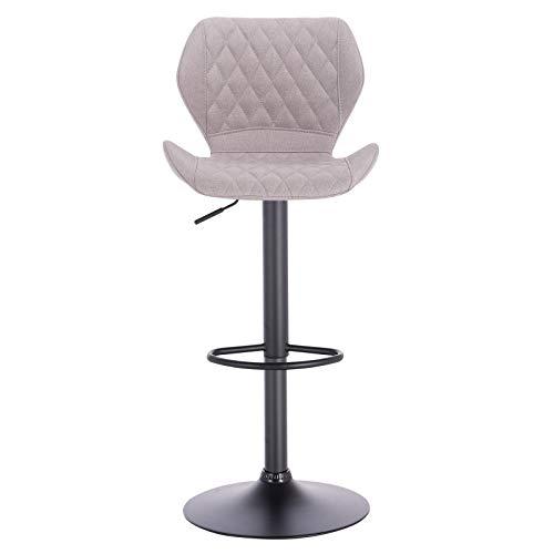 eSituro SBST0370-2 2 x Barhocker Küchenstuhl Barstuhl, höhenverstellbar & 360° drehbar, 2er Set Bar Hocker aus hochwertigem Leinen, Hellgrau - 5
