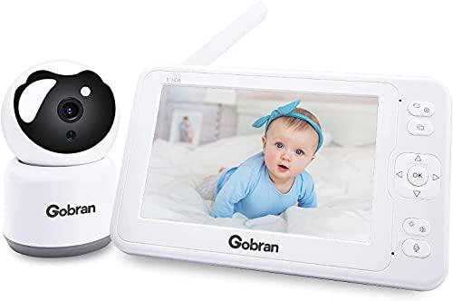 Babyphone mit Kamera 5 Zoll 1080P HD Video 360°Drehung 2 Erweiterbare Kameras, Gobran Videoüberwachung VOX Aktivierung,Walkie Talkie,Nachtsicht,Schlaflieder,Temperatursensor