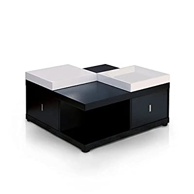 Black Square Coffee Table with Serving Tray