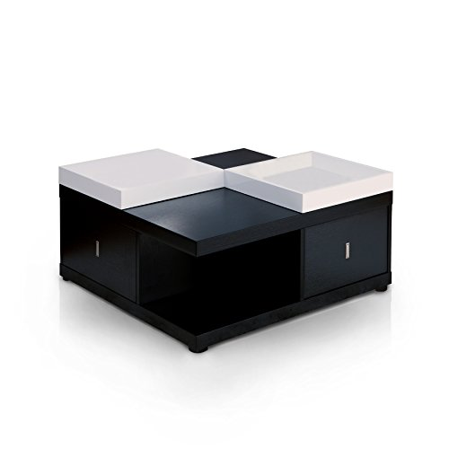 ioHOMES Morgan Contemporary 2-Drawer Storage Square Coffee Table with 2 Service Trays, 32', Black
