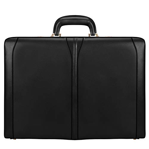 McKlein, V Series, Turner, Top Grain Cowhide Leather, Leather 4.5' Expandable Attaché Briefcase, Black (80485)