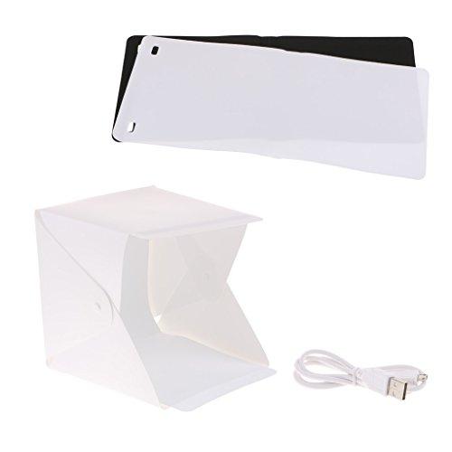 20cm Studio Fotografico Portatile Tenda Corredo Luce Scatola Light Box Gleading con Luce a LED + Due Sfondi (Bianco e Nero)