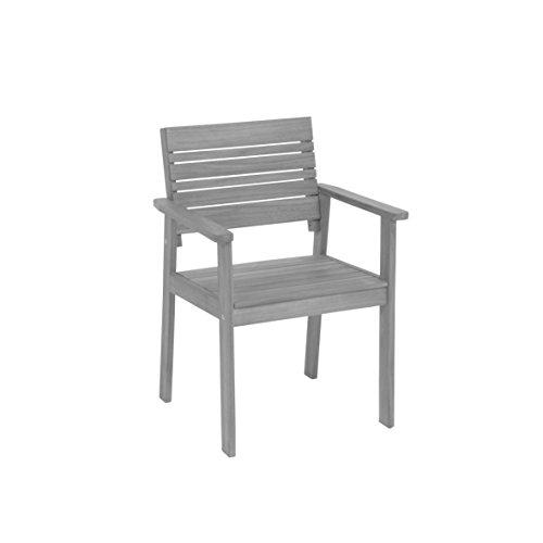 greemotion Greemotion Gartenstuhl Maui aus Holz-Holzstuhl grau-Gartensessel Balkon & Terrasse-Holzsessel massiv-Garten Stuhl mit Armlehne-Lounge Gartenmöbel, 6,7 x 5,8 x 1,2 cm