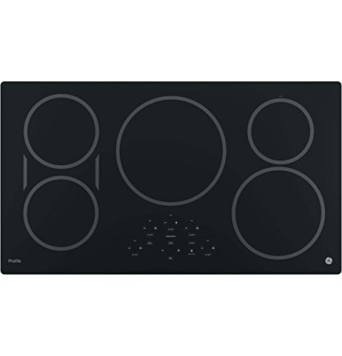 GE 36-Inch Cooktop with 5 Induction | Pan Size Sensors, SyncBurners, Red LED Display, Kitchen Timer, 3,700-Watt Element | ADA Compliant Fits Guarantee | PHP9036DJBB model