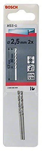 Bosch Professional Metallbohrer HSS-G geschliffen (2 Stück, Ø 2,5 mm)