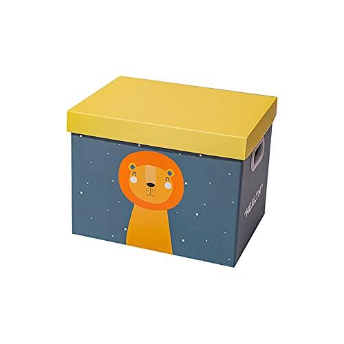 Parshall Caja de almacenamiento de papel plegable linda caja de almacenamiento de dibujos animados de juguete Cubo de almacenamiento de gran capacidad organizador a prueba de polvo, león