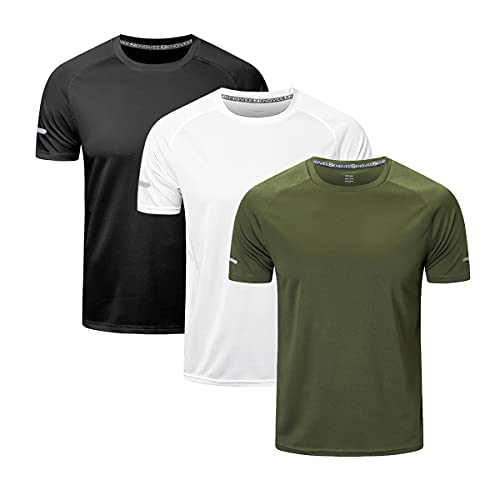 ZENGVEE 3 Pack Mens Running Shirts Moisture Wicking Tops Workout Jogging...