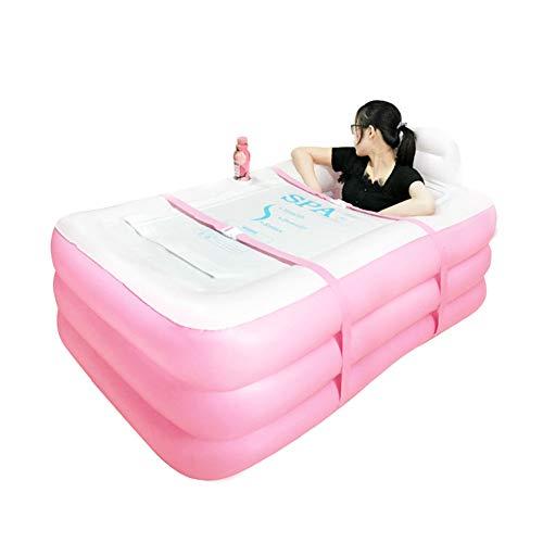 WAHW opblaasbare badkuip volwassenen badkuip PVC draagbare plooien met luchtpomp voor familiebadkamer SPA (roze, blauw)