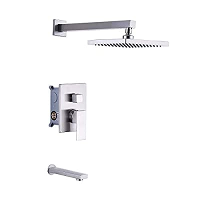 KES Pressure Balance Shower Valve Combo Complete Kit Bath and Shower Faucet Set Diverter Tub Spout Shower Arm and Fixed Showerhead Traditional Chrome, XB6233