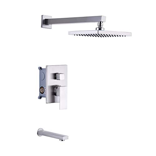 KES Pressure Balance Shower Valve Combo Complete Kit Bath and Shower Faucet Set Diverter Tub Spout Shower Arm and Fixed Showerhead Traditional Brushed Nickel, XB6233-BN