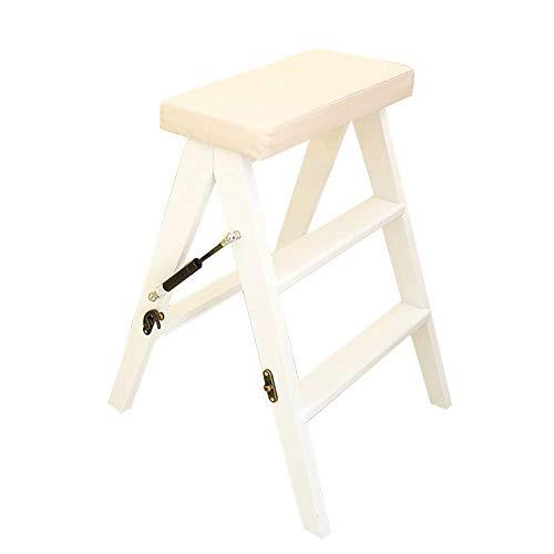 GUOXY Leiter-Multifunktionshocker Aus Holz Faltbare Anti Slip Küche 3 Stufen 150Kg Kapazität Waschbar Pad,Weiß