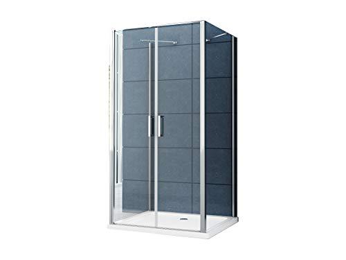 U Form Duschkabine Dusche Aron 90 x 90 x 195 cm / 8 mm/ohne Duschtasse