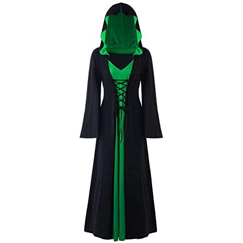 LPFNSF Vestido de Halloween de manga larga con capucha, vestido gtico con mangas de trompeta, disfraz largo de vampiro para cosplay, color verde, talla M