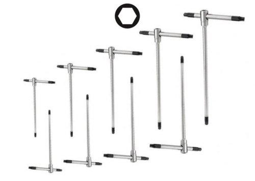 Set di chiavi esagonali a T con aggancio multiplo ed asta scorrevole 9 pezzi 2,5-10mm Cromo Vanadio