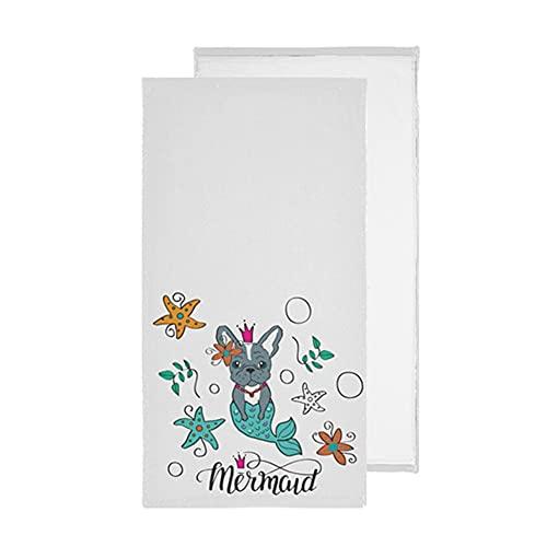 French Bulldog Mermaid Bathroom Hand Towels Sea Stars Kitchen Dish Towel Set 2 Pack Soft Decorative Dishcloths Washcloths Guest Fingertip Towels for Hotel Beach Spa Gym Sport 14x28 in