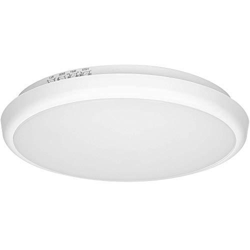 Orno Cers Lámpara de techo LED con Detector de Movimiento, sensor crepuscular y función de atenuación de luz 4000K IP54 Resistente al Agua (16W Ø265 / 40)