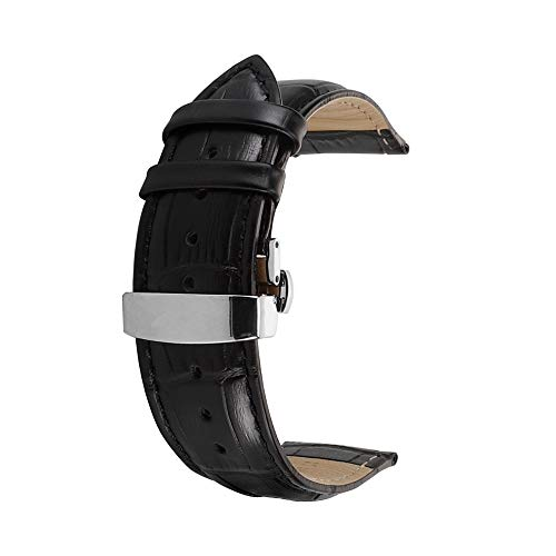 Correa De Reloj Cuero del Becerro Correa De Repuesto Pulsador Mariposa Deployant Clasp Ajuste para Tradicional Deportivo Reloj Inteligente 22mm Negro