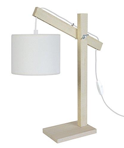 Tosel 90201Pranger Lampe eReader Holz Buche/Baumwolle Stoff natur/ecru 270x 400mm