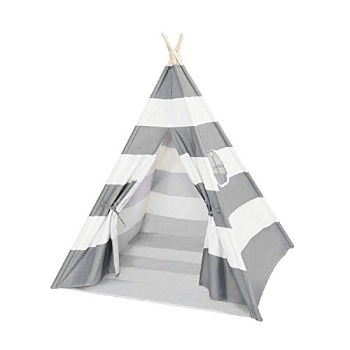 Quieting Kids Teepee Play Tent Children Large Cotton Canvas Indian Wigwam Playhouse Indoor Grey Stripes