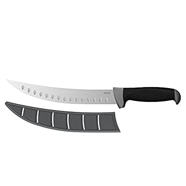 """Kershaw 9"""" Curved Fillet Knife (1242GEX), Fixed 9-in 420J2 Stainless Steel Blade, Corrosion Resistant, Non-Slip Glass-Filled Nylon Handle With K-Texture Grip, Plastic Blade Protector Included, 5.5 OZ."""