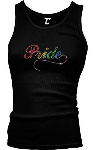 Pride - Rhinestone LGBTQ Gay Lesbian Rainbow Juniors Tank Top (Black, Medium)