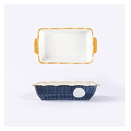 Utensilios Para Hornear Plato de horneado cuadrado, conjunto de lacas de cerámica de 2 piezas - platos de cazuela rectangulares no pegajosas con asas fáciles de agarrar - PANTENERA DE HORNA DURADACION