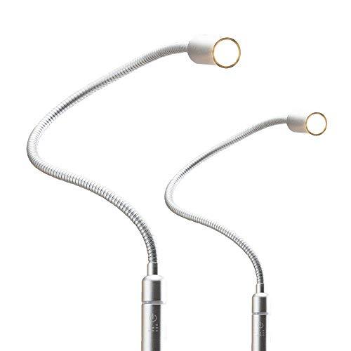 3W LED Bettleuchte dimmbar Leseleuchte Nachttischlampe Bettlampe Leselampe, Auswahl:2er Set silbergrau