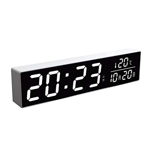 kerryshop Reloj Despertador Luz de Noche Mute Reloj Despertador Calendario Reloj electrónico Pantalla LED Dormitorio Digital Cocina Oficina Despertador Junto a la Cama Reloj de Escritorio