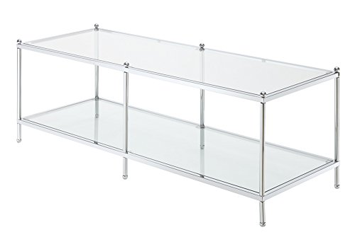 Convenience Concepts Royal Crest Coffee Table, Chrome / Glass