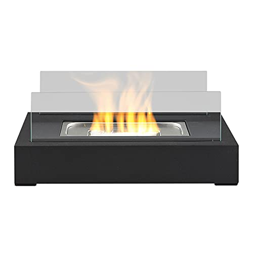 Bio Ethanol Fireplace Tabletop Firebox Burner Heater - Suitable for Indoor & Outdoor Use, Freestanding, Portable, Contemporary Modern Design, Tempered Glass Panes & Matte Black Steel Base - Rectangle