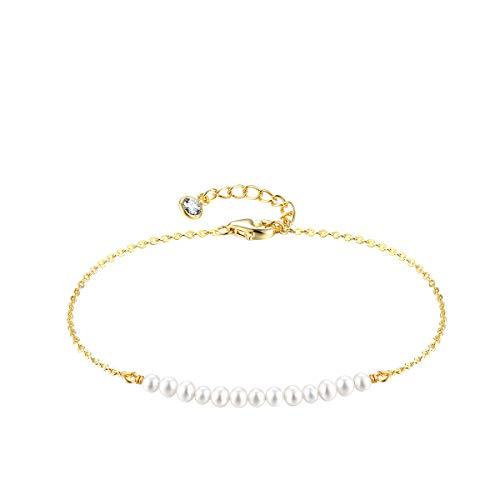 Mevecco Gold Tiny Pearl Bracelet,14K Gold Plated Cute Beaded White Pearls Bar Horizontal Tiny Minimalist Charm Dainty Handmade Bracelet for Women…
