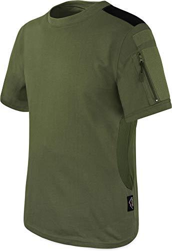 T-Shirt BDU Tactical Kurzarm Kampfshirt mit Klettflächen, Reißverschlusstaschen am Arm und seitlicher MESH-Einsatz - Combat Short Sleeve Farbe Oliv Größe L