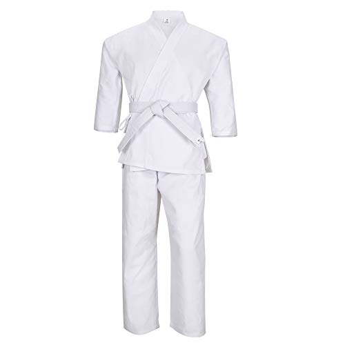 MACS Martial Arts Karate Elastic Drawstring Uniform for Kids & Adult Lightweight Student Gi with Free Belt (White, 1 (4'4''-4'7''/70-100lbs))