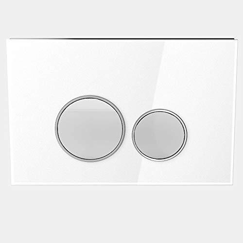 MYLAVABO Drückerplatte aus Glas, passend nur zu SIGMA Serie/Geberit Duofix UP320 / (111300005), 2-Mengen Spülung (weißes Glas), Betätigung von vorne