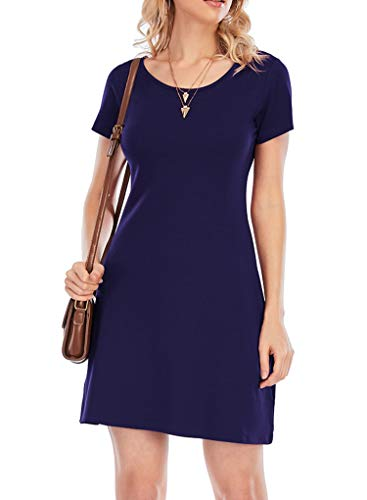 Yidarton Sommerkleid Damen Casual Kurzarm T-Shirt Kleider Lose Rundhals Strandkleider Mini Freizeitkleid (Style-1-Marine, L)