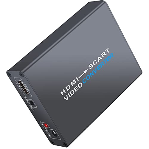 LiNKFOR Convertidor HDMI a Euroconector 1080P Carcasa Aleación de Aluminio HDMI 1.3 Adaptador HDMI a Scart con Cable Euroconector Conversor de Audio y Video HD Compuesto para TV DVD Blue Ray