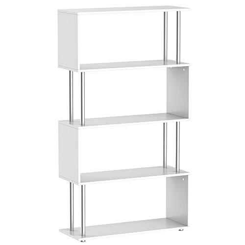 HOMCOM Wooden S Shape Bookcase Bookshelf Dividers Storage Display Unit White