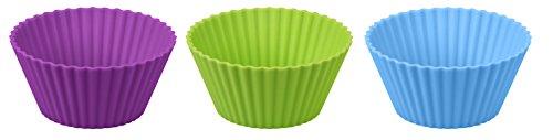 Dr. Oetker Silikon-Muffinförmchen, Silikonformen für Muffins und Cupcakes (Farbe: lila, grün, blau) - spülmaschinengeeignet, Menge: 1 x 12er Set