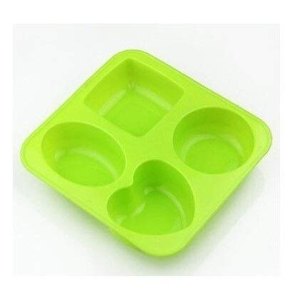 4 Cavities Heart Square Round Oval Silicone Cake Baking Mold Cake Pan Muffin Cups Soap Moulds Biscuit Chocolate Ice Mold