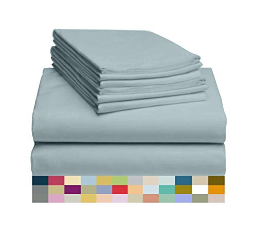 "LuxClub 6 PC Sheet Set Bamboo Sheets Deep Pockets 18"" Eco Friendly Wrinkle Free Sheets Hypoallergenic Anti-Bacteria Machine Washable Hotel Bedding Silky Soft - Light Teal Queen"