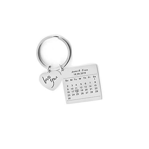 Jewelry meiqi Personalisierte Kalender Datum Schlüsselanhänger mit Gravur für Frauen Männer Memorial...