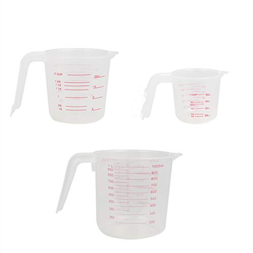 Gmlmes Plastic Measuring Cups Measuring Cup Set of 3 Stackable Wearable Clear Measuring Cup with Handle Grip and Spout Bakeware Accessories