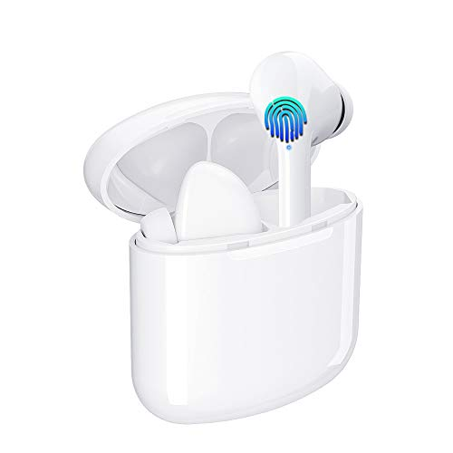 Wireless Earbuds Bluetooth 5.0 Ear Buds Sport Buds TWS Stereo Headphone with Microphone,Hi-Fi Sound in Ear with Deep Bass Earphones for Sport Charging Case for iPhone Samsung Huawei Android (White)