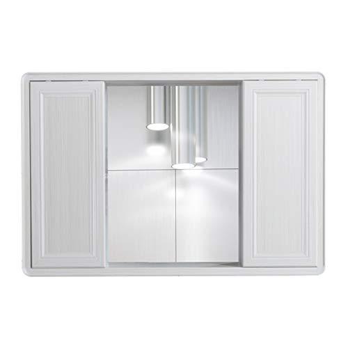 Creative LDF Doble Puerta Corrediza BañO Espejo Mueble Espacio Montado En La Pared Aluminio Blanco Madera Mueble De Almacenamiento Con Espejo De Vanidad