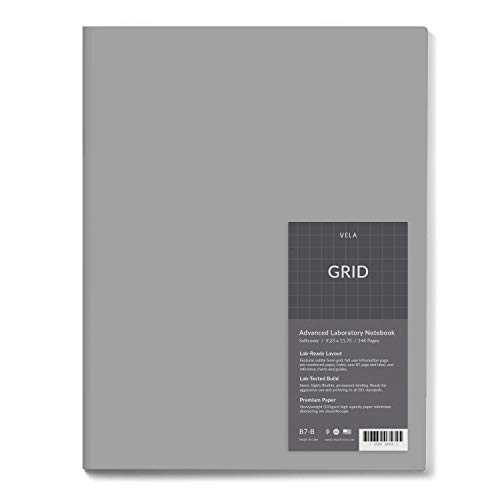Vela Sciences Advanced Softcover Lab Notebook, 9.25 x 11.75 inches, 144 Pages (1-Pack, Grid)