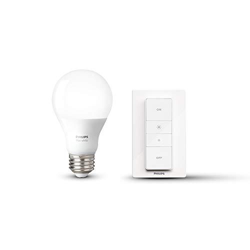 Philips HUE LED Starter Pack, 1 Lámpara White 9.5W A19 E26 + Dimmer
