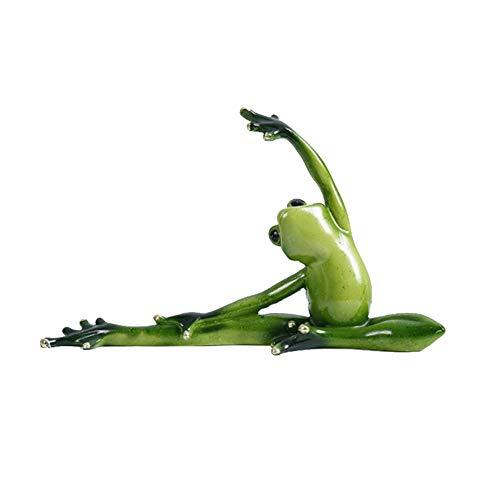 Zoomarlous 3D Yoga Frösche Figur, Grüne Yoga Frosch geformte Dekoration 3D Harz Statuen für Schlafzimmer Wohnzimmer